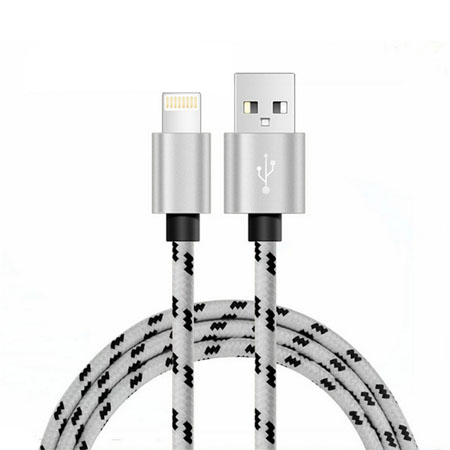iphone leopard-print nylon braided cable